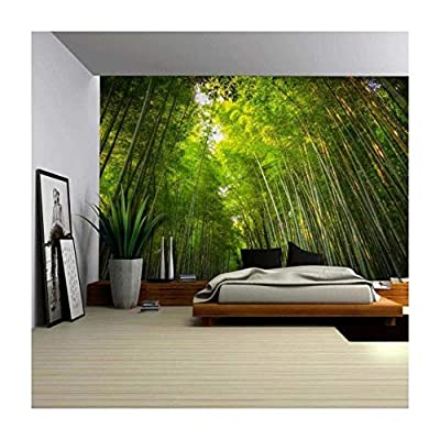 Tall Forest of Bamboo Tree's Hovering Over - Wall Mural, Removable Sticker, Home Decor - 100x144 inches