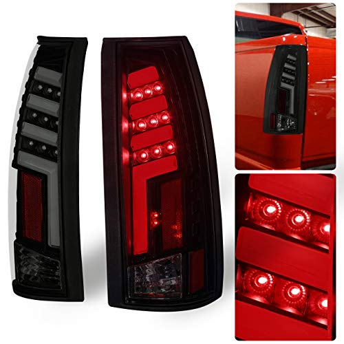 AJP Distributors Chevy GMC C/K C10 1500 2500 3500 Pickup Truck Rear Tail Light Lamps LED Brake Lamp Black Housing Smoke Lens Red Tron Neon Tube Style Upgrade Replacement