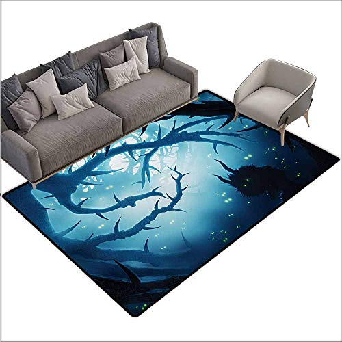 Inner Door Rug Mystic Animal with Burning Eyes in The Dark Forest at Night Horror Halloween Illustration Non-Slip Door mat pad Machine can be Washed W70 xL110 Navy White -