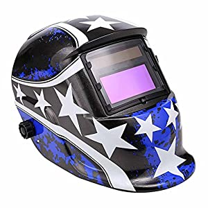 Solar Power Auto-Darkening Welding Helmet Adjustable MIG TIG ARC Welder Hood Mask(Blue Star) by Cosway