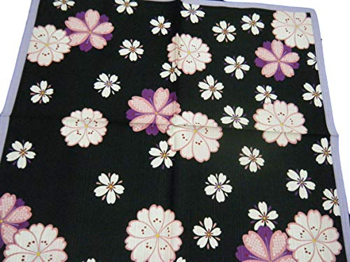Furoshiki Japanese traditional wrapping cloth handkerchief.Shantung chief interior Bento box lunch box wrapping cloth.Cotton100% Made in Japan.(Black&purple) ()