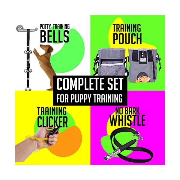 AMZpets Puppy Training Set. Dog Clicker, Treat Pouch with Poop Bag Dispenser, Potty House Train Door Bells, Dogs Whistle To Stop Barking and Teach Tricks. Puppies Supplies Starter Kit 2