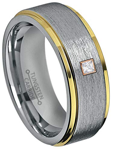 0.05ctw Solitaire Princess Cut Diamond Tungsten Ring - 8MM Brushed 2-Tone Stepped Edge Tungsten Carbide Wedding Band - April Birthstone Ring - s5 ()