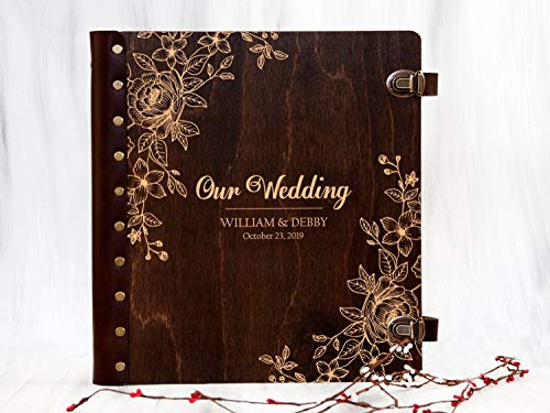 Custom Pages Scrapbook - Wedding Photo Album Personalized Photo Album Self-Adhesive Album Rustic Wedding Gift for Couple Wooden Photo Album Custom Unique Photo Book Magnetic Page Photo Album Custom Memory Book Scrapbook Album