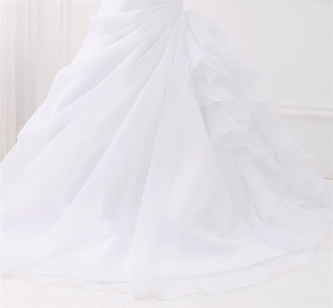 Womens Sweetheart Ruched Organza Bridal Gown Mermaid Wedding Dress for Bride LF151-HB