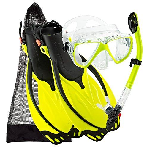 Wave Aqualung - Aqualung Sport Wave Snorkeling Mask Fin Snorkel Gear Set (Yellow, Medium/X-Large)