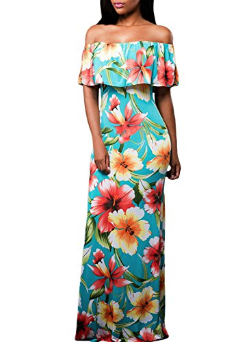 Flowers Off Shoulder Ruffle Party Homecoming Maxi Dress, Medium Turquoise from Happy Sailed