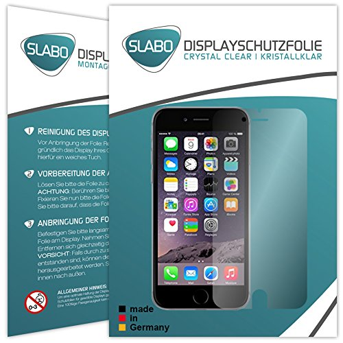 2 x Slabo pellicola protettiva per display iPhone 6 6S (4.7) protezione display Crystal Clear invisibile MADE IN GERMANY