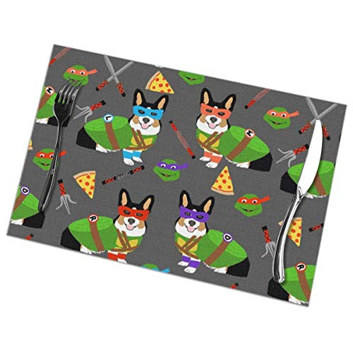 shirt home Placemats Set of 6 Tri Corgi Ninja Turtle - Dog Dogs Cartoon Costume Slubbed Linen Heat Resistant Non-Slip Dining Table Place Mats for Kitchen Table 12x18 in -
