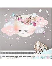Little Deco muursticker kinderkamer meisjes maan & wolken II muursticker baby decoratie kamer DL243