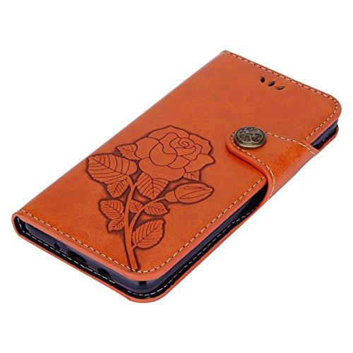 Galaxy J5 2016 Funda, Surakey Retro PU Cuero Funda Folio Carcasa para Samsung Galaxy J5 2016,Galaxy J5 2016 Funda Carcasa Resistente Protectora,Galaxy J5 2016 PU Leather Wallet Case Cover Skin Shell C Naranja