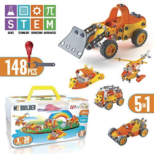 STEM toys for 6 year old boys educational toys for 7 year old boys Building Set for boys 8-12 erector set for Boys kids engineering kits Toy Set, 5 Lovely Models 161 PCS STEM Learning Toys for boys