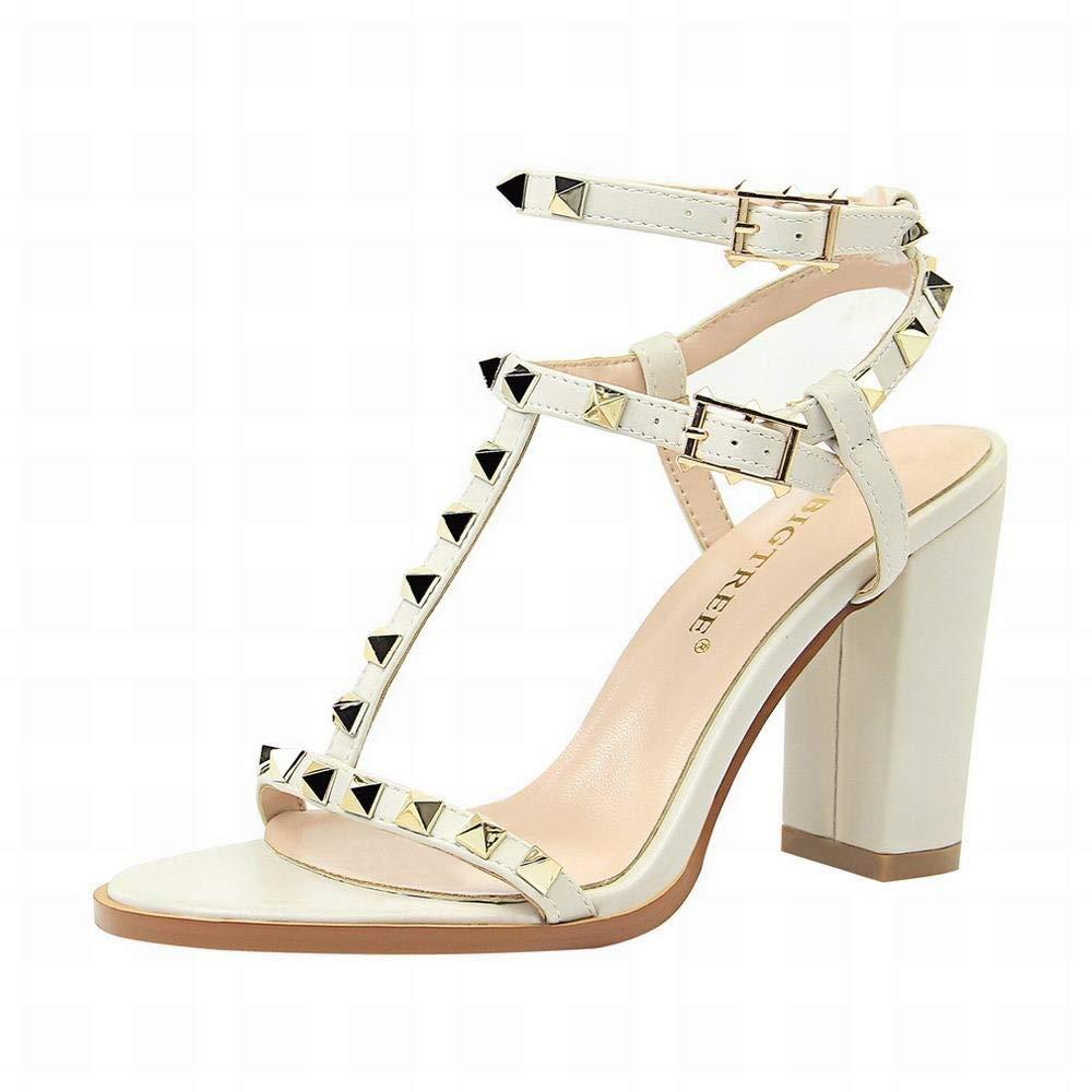 LINANNAV High Heel Damenschuhe Mode dick mit mit mit High Heel sexy Metall beschlagenen Sandalen römische Schuhe  075e6b