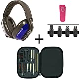 Smith & Wesson 20db NRR Noise Reduction Suppressor Earmuffs + Brush Rod Swab Cleaning Tool Set + Glock 9mm .40 S&W .45 ACP Belt Clip Pouch Holder Fits Pistol Magazines, Pink