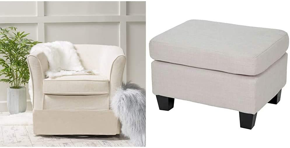 Christopher Knight Home Cecilia Swivel Chair with Loose Cover, Natural Fabric & Rosella Fabric Ottoman, Linen