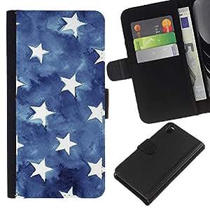 KingStore / Leather Etui en cuir / Sony Xperia Z3 D6603 / Las rayas de la bandera americana Azul Blanco;