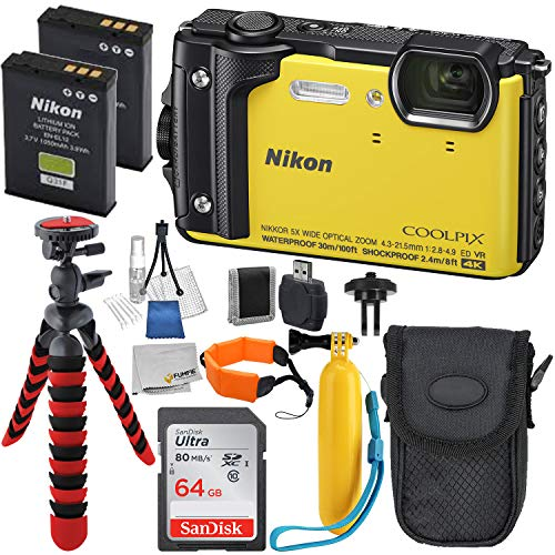 Nikon COOLPIX W300 Digital Camera with Deluxe Accessory Bundle – Includes Promot Sandisk 64GB Ultra Memory Card – Extended Life Replacement Battery EN-EL12 & Much More (Yellow)