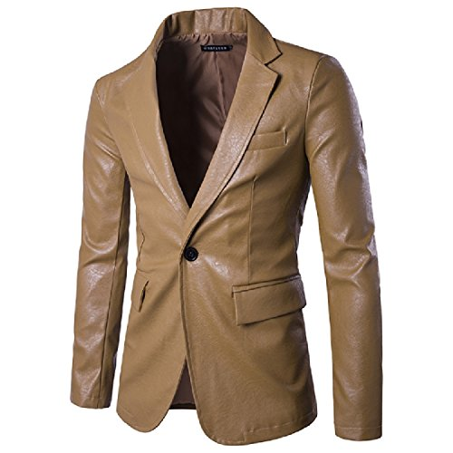 YUNY Mens Hipster Long Sleeve Casual One Button Flap Pockets PU Leather Blazer Jacket Khaki M
