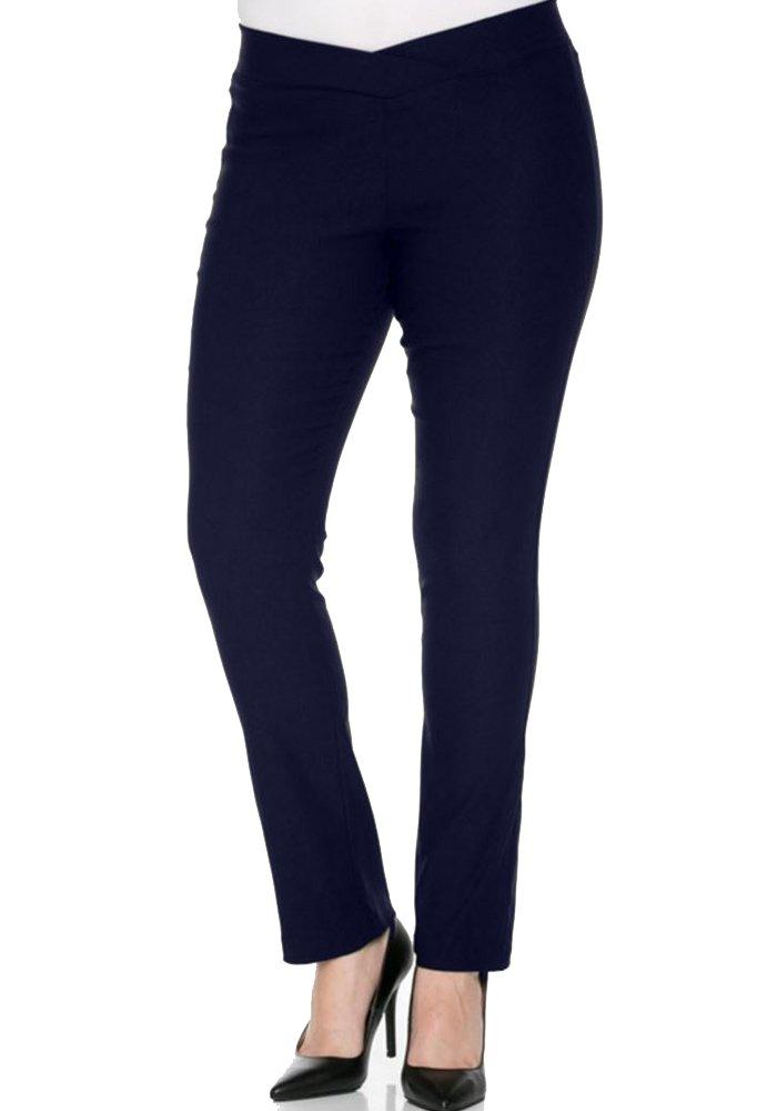 curvyluv.com Women's Junior Plus Size Stretch Skinny Pants V-Front Elastic Waist Straight Leg (1X, Navy)