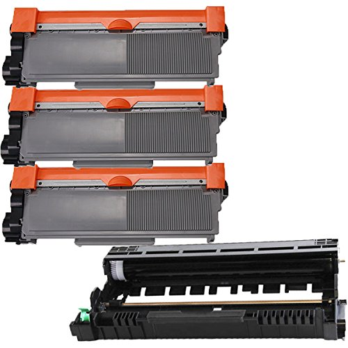 (1 Drum + 3 Toner) Inktoneram® Replacement High Yield toner cartridges & drum for Brother TN660 TN630 DR630 for Brother DR-630 TN-660 TN-630 Set HL-L2300D HL-L2320D HL-L2340DW HL-L2360DW HL-L2380DW MFC-L2700DW MFC-L2720DW MFC-L2740DW DCP-L2520DW DCP-L254