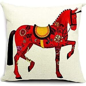 Reino Unido 8/29Vivid caballo rojo algodón/lino decorativo funda de almohada