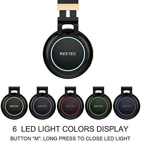 Reetec Bluetooth Headphones Over Ear, Colorful Lights Headphones Wireless with Backup Cord, Stereo Deep Bass Sound Earphones with CVC 6.0 Mic, TF Card Slot for iPad Tablet TV Airplane School, Black 51UTAszDWjL