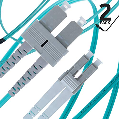 LC to SC Fiber Patch Cable Multimode Duplex - 1m (3.28ft) - 50/125um OM3 10G (2 Pack) - Beyondtech PureOptics Cable Series ()