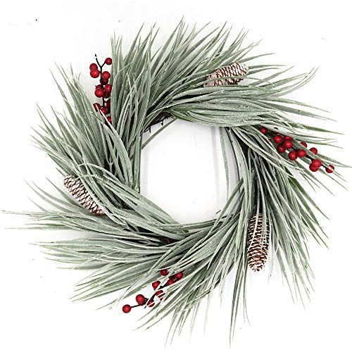 Marsh View Coastal Flocked Sea Grass White Winter Christmas Wreath with Red Berries Frosted Pine Cones Small Wreath Or Candle Ring Holiday Tabletop Centerpiece 15 inch