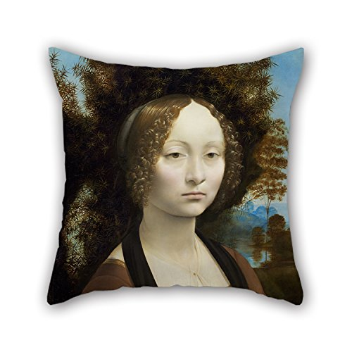 Artistdecor Oil Painting Leonardo Da Vinci - Ginevra De' Benci Cushion Cases 20 X 20 Inches / 50 By 50 Cm Best Choice For Boy Friend Outdoor Husband Son Kids Christmas With 2 Sides