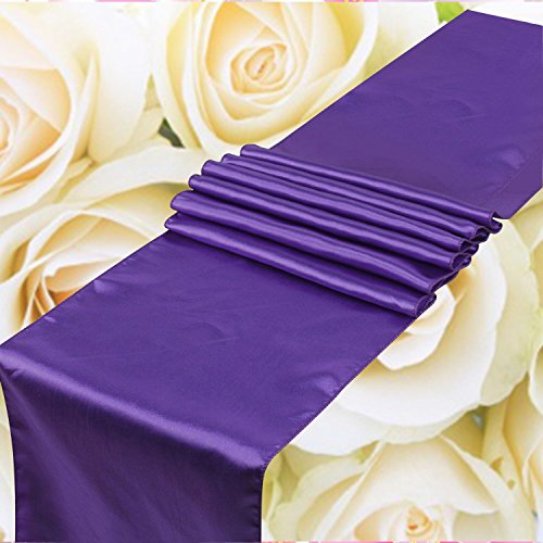 SPRINGROSE Huge 14 Inch x 108 Inch Purple Satin Table Runner (Set of 10). Make Your Reception Pop with These Gorgeous Wedding Decorations. A Must Have for Your Party Supplies. by SPRINGROSE