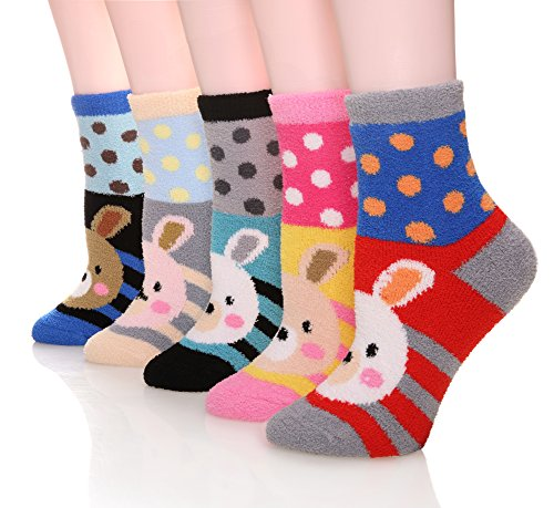 MIUBEE Women 5 Pairs Pack Super Soft Cozy Fuzzy Cute Winter Socks (Rabbits) (Socks Rabbit)