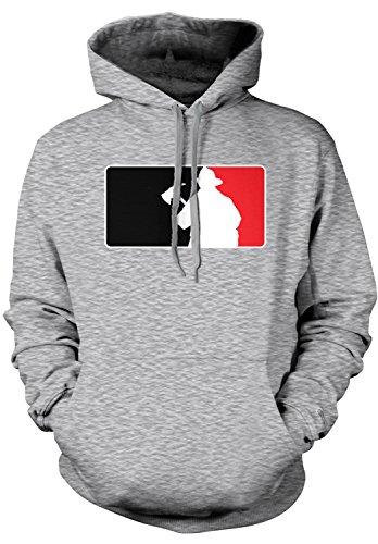 Amdesco Men's Firefighter Silhouette Emblem, Fire Fighter Hooded Sweatshirt, Heather Gray 2XL