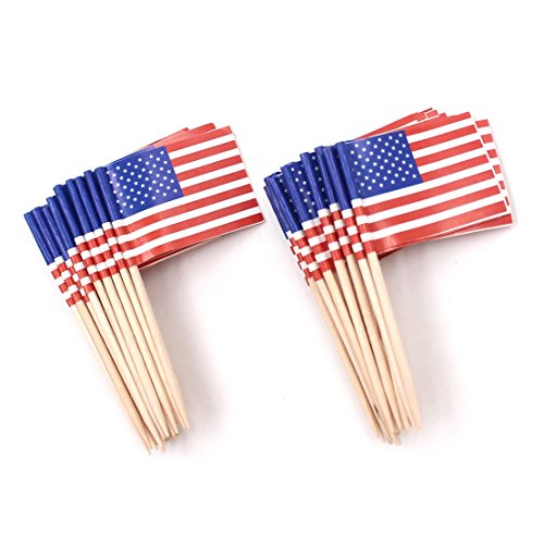 WARMBUY 200 Pack US Flag Picks Patriotic Flag Food Toothpicks Party Accessory Party Favors -