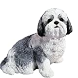 Sandicast Silver and White Shih Tzu Sculpture, Sitting, Life Size For Sale