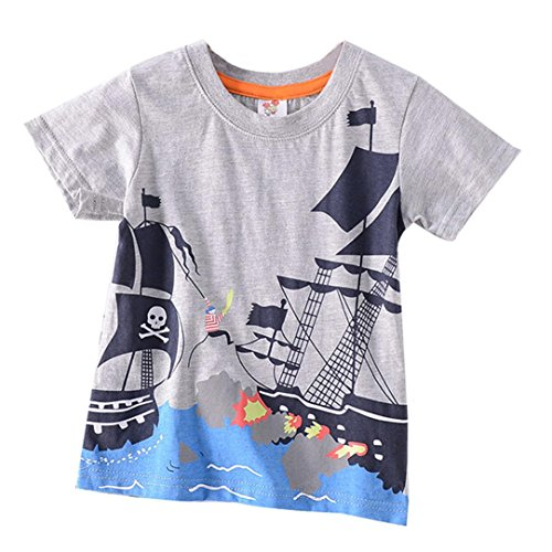 Moonker Baby Tops for 2-8 Years Old,Toddler Boys Girls Kids Summer Clothes Cartoon Octopus Print Tees Shirt (Gray, 7-8 Years Old) from Moonker