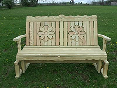 4 Ft Pressure Treated Pine Designs Unfinished Daisy Cutout Outdoor Glider Bench