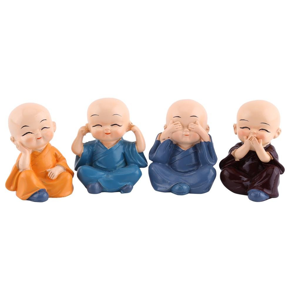 Akozon Four Monks Car Decoration, Resin Crafts Ornament Four Little Buddha Monks Figurine Automotive Home Decoration
