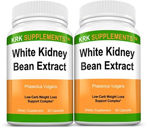 2-Bottles-White-Kidney-Bean-Extract-500mg-180-Total-Capsules-KRK-Supplements
