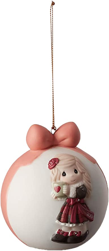 One Size Precious Moments Kitty Cuddles 2019 Dated Bisque Porcelain Cat Christmas 191007 Ornament Multi