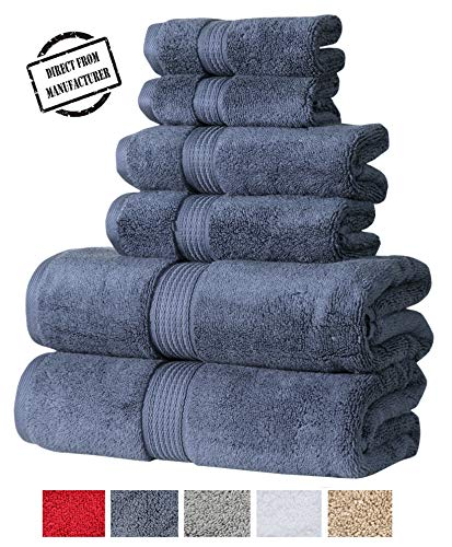 Avira Home 550 GSM, Zero Twist Cotton Towel Set 6 Pieces Set, 2 Bath Towels, 2 Hand Towels, 2 washcloths Set, Machine Washable, Hotel Quality, Towel for Gift, Highly Absorbet, Plush