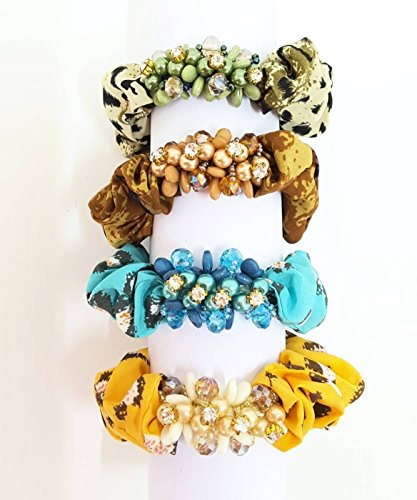 UNIQUE: PACK 4 - BEADS AND RHINESTONE DECOR WITH CHINTZ ELASTIC HAIR TIE (Chintz Antique)