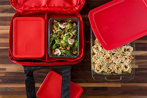 Pyrex Portables Glass Bakeware and Food Storage Set (Black Carrier, 9-Piece Double Decker, BPA-free) by Pyrex (Image #1)