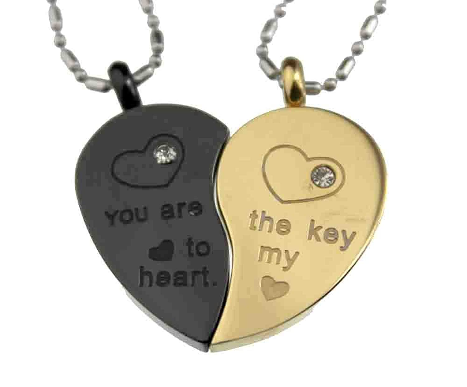 Lovers couple 2 tone split heart pendant set stainless steel lovers couple 2 tone split heart pendant set stainless steel amazon jewellery aloadofball Choice Image