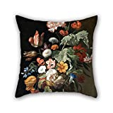 loveloveu pillowcover of oil painting Rachel Ruysch - Still-Life with Flowers,for play room,wedding,kitchen,divan,car,study room 20 x 20 inches / 50 by 50 cm(double sides)