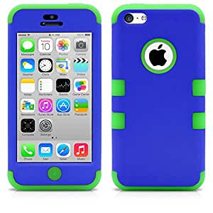 iPhone 5C Case, MagicMobile® Hybrid Impact Shockproof Cover Hard Armor Shell and Soft Silicone Skin Layer [ Blue - Green ] with Free Screen Protector / Film and Pen Stylus