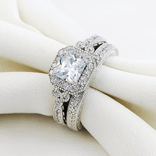 amazoncom newshe vintage bridal set princess white cz 925 sterling silver wedding engagement ring set size 5 10 jewelry - Vintage Wedding Ring Set