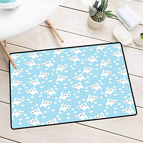 NineHuiTechnology Large Front Door Mats Shoes Scrape, Baby, Amusing Feline Cat with Yarn Ball and Mouse Sketch Predator Instincts Dotted Backdrop, Blue Cream, 15.5
