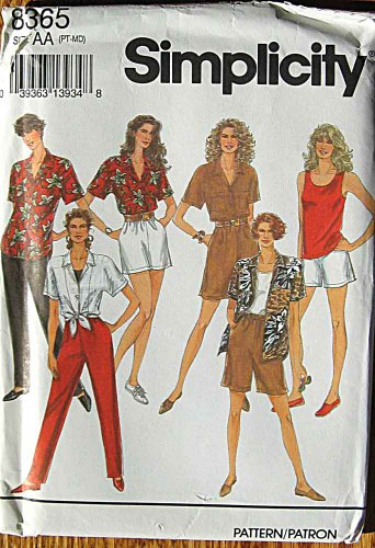 Simplicity 8365 Sewing Pattern ~ Misses' Shorts in 2 Lengths, Pants, Shirt, Tank Top, Sizes PT-Medium, 6-16