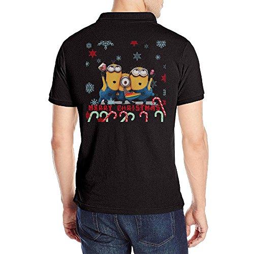 Men's Minion Christmas Solid Polo Shirt Black