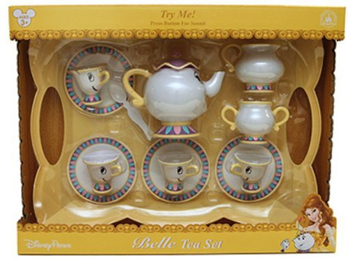 Disney Parks Belle Tea Set Dishes Mrs Potts Chip Beauty and Beast with -